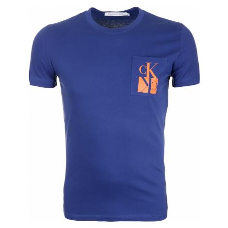 Pánské modré tričko s náprsní kapsou Calvin Klein