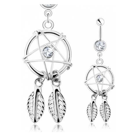 Piercing do pupíku, ocel 316L, lapač snů - pentagram, pírka, čiré zirkony Šperky eshop