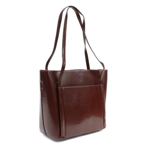 Kávově hnědá luxusní kabelka do ruky i přes rameno Richerre Mahel
