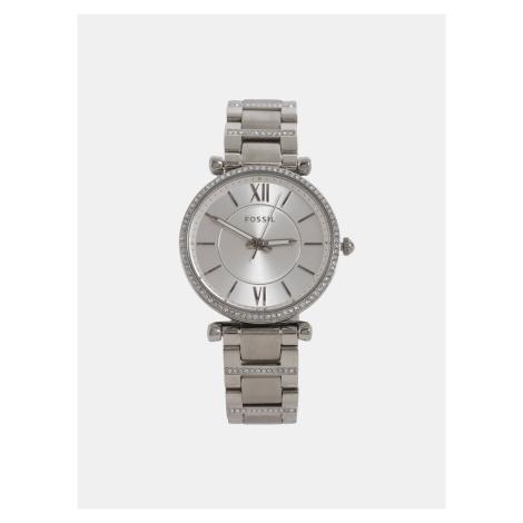 Dámské hodinky s nerezovým páskem ve stříbrné barvě Fossil Carlie