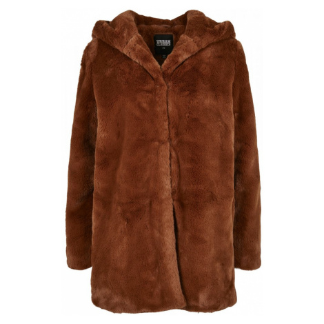 Ladies Hooded Teddy Coat - toffee Urban Classics