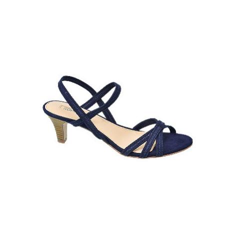 Tmavě modré sandály na podpatku Esprit