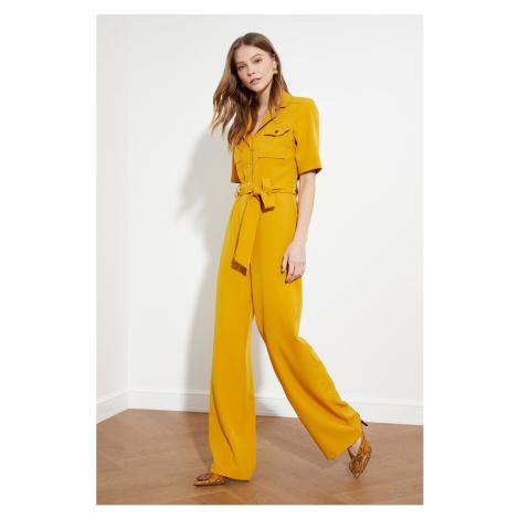 Trendyol Camel Belt ButtonEd Jumpsuit