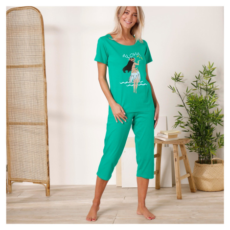 Blancheporte Pyžamo se 3/4 kalhotami, motiv Tahiti Aloha mátová
