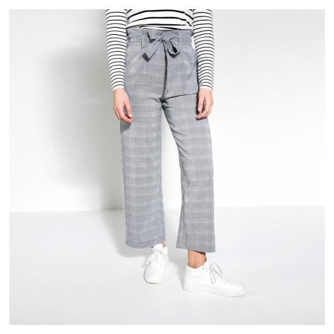Šedé kostkované kalhoty Pieces
