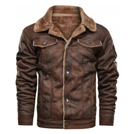 Semišová moto bunda pánská bunda s našívky a kožešinovou podšívkou
