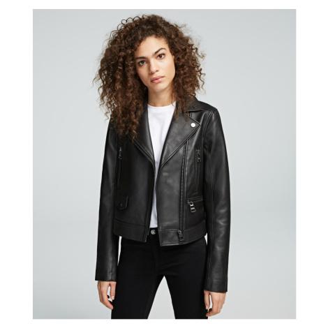 Bunda Karl Lagerfeld Ikonik Leather Biker Jacket - Černá