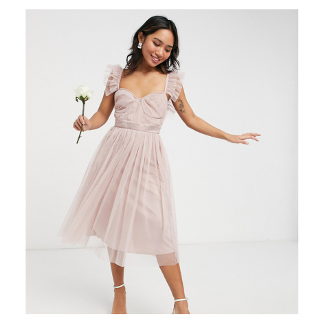 Anaya With Love Petite Bridesmaid tulle frill sleeve midi dress in pink