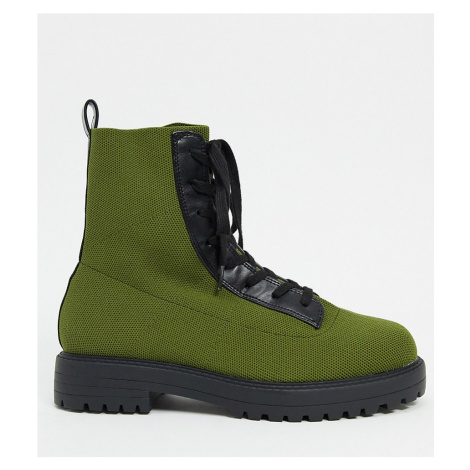 ASOS DESIGN Wide Fit Arrow knitted lace up ankle boots in green