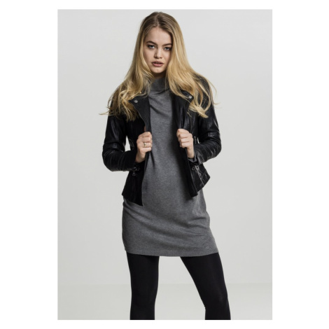 Ladies Oversized Turtleneck Dress - grey Urban Classics