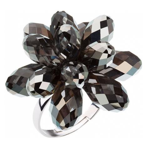 Stříbrný prsten s krystaly Swarovski šedá kytička 35023.5 Victum