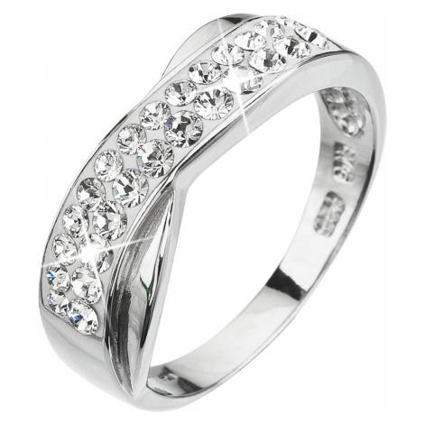Evolution Group Stříbrný prsten s krystaly bílý 35041.1