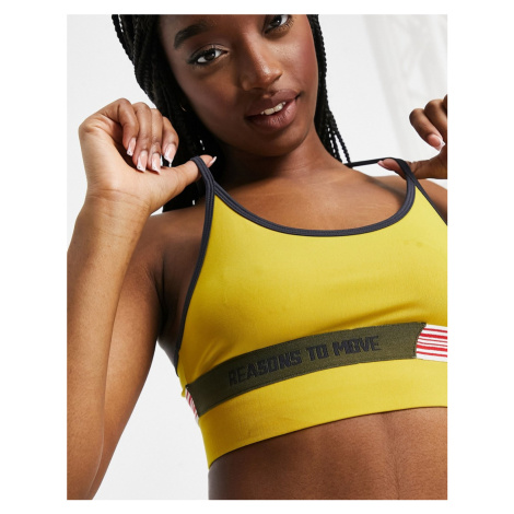 ASOS 4505 sports bra with cut about elasticated detail with strap adjusters-Multi