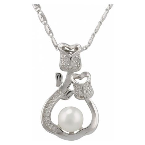 Linda's Jewelry Náhrdelník bižuterie s perlou a zirkony Tulipán INH004