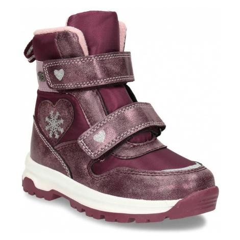 Vínová dívčí kotníková obuv na zimu Baťa