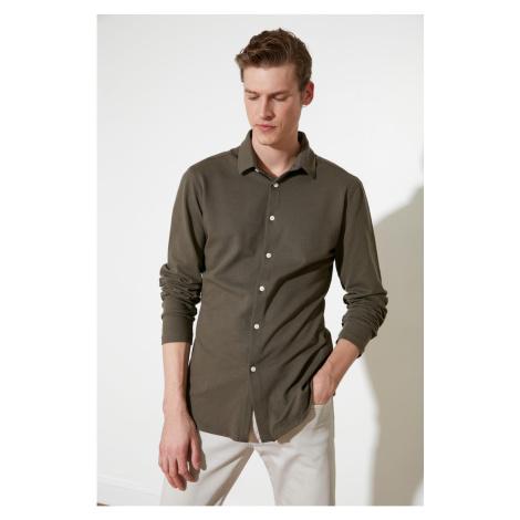Trendyol Khaki Men's Honeycomb Textured Extra Slim Fit Shirt Collar Knitted Shirt