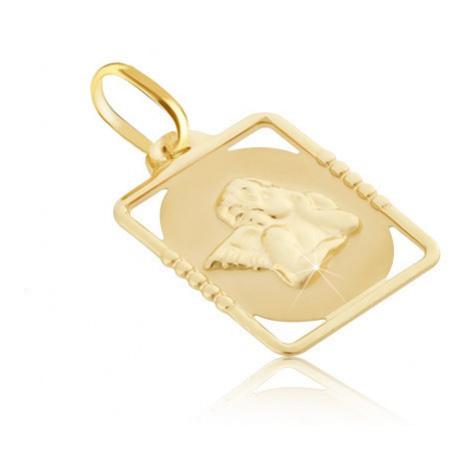 Zlatý přívěsek 585 - známka s vystouplým andělem v obdélníkovém rámu Šperky eshop