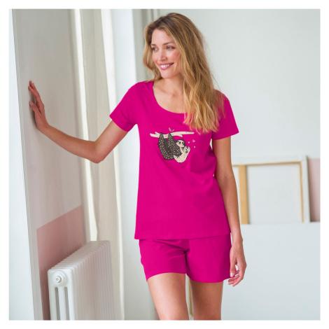 Blancheporte Pyžamo s krátkými rukávy a šortkami, motiv lenochodů fuchsie