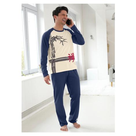 Blancheporte Pánské pyžamo s dlouhými kalhotami, dlouhé rukávy režná/indigo