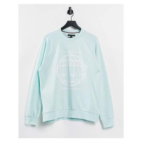 Tommy Hilfiger One Planet capsule unisex front print sweatshirt in blue