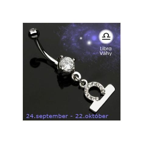 Piercing do pupíku přívěsek znamení - Váhy Šperky eshop