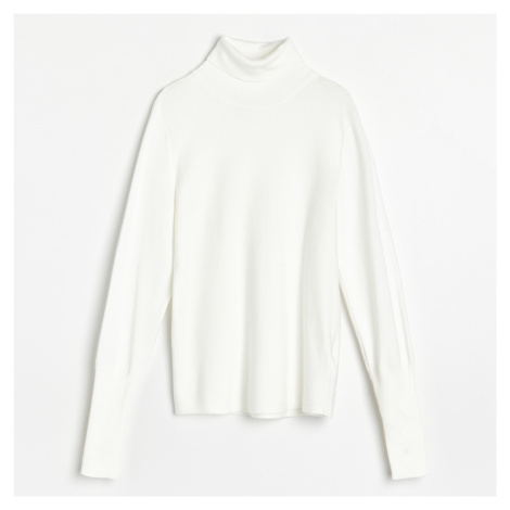 Reserved - Vypasovaný svetr se stojáčkem - Krémová