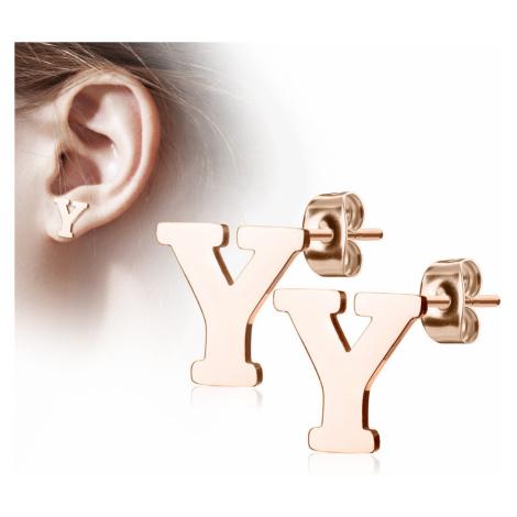 """Ocelové náušnice v měděné barvě - písmeno abecedy """"Y"""", puzetky Šperky eshop"""