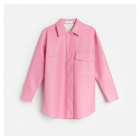 Reserved - Koženková košilová bunda - Růžová