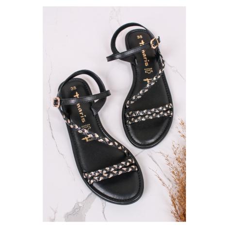 Černé nízké kožené sandály 1-28113 Tamaris