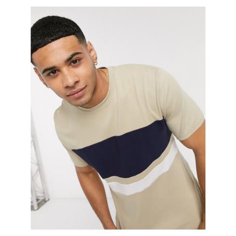 River Island slim fit t-shirt with horizontal blocking in tan & camel