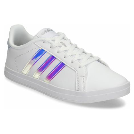 Bílé dámské tenisky s neonovými proužky Adidas