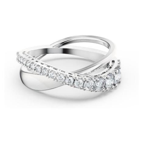 Swarovski Prsten 'Twist Rows' stříbrná / šedá
