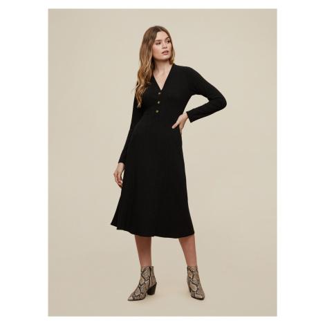 Černé šaty s knoflíky Dorothy Perkins