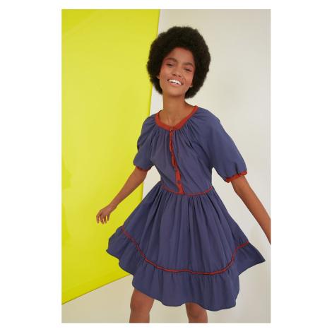 Trendyol Navy Blue Biye Detailed Dress