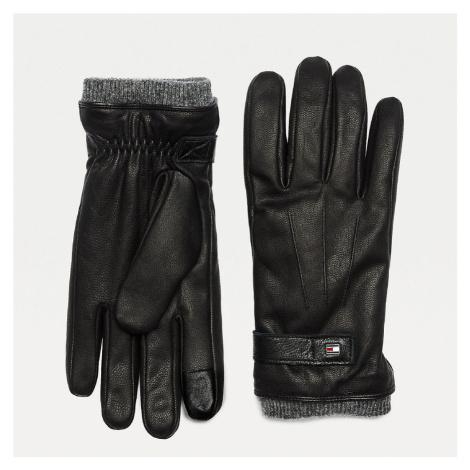 Tommy Hilfiger pánské černé kožené rukavice ELEVATED