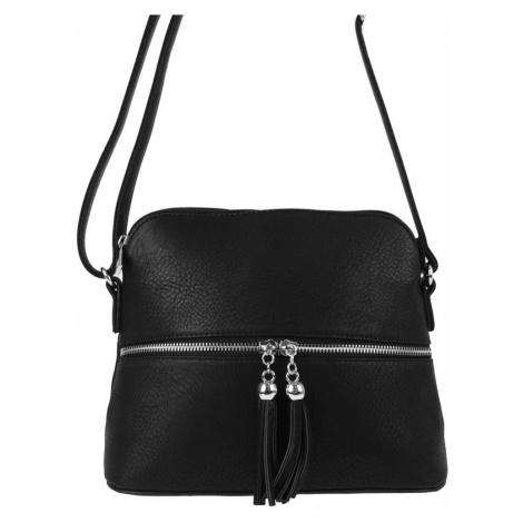 Malá crossbody kabelka se stříbrným zipem NH6021 černá New Berry