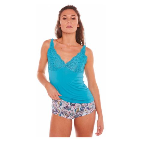 Blancheporte Pyžamo se šortkami Eldorado, mikrovlákno a krajka tyrkysová