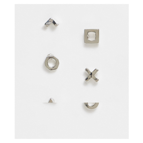 ASOS DESIGN 6mm stud earring pack with shapes in silver tone