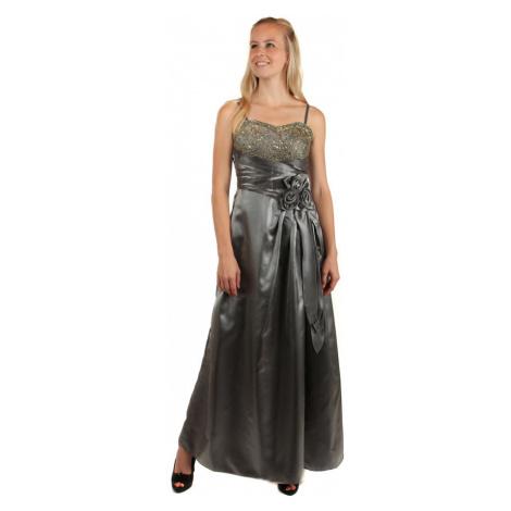 Dlouhé lesklé večerní šaty se zlatou výšivkou