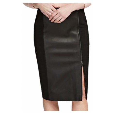 Černá kožená sukně - KARL LAGERFELD