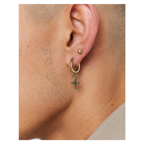 Icon Brand stud and hoop earrings in gold with cross charm