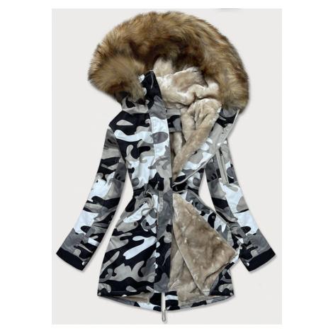 Šedá dámská maskáčová moro zimní bunda parka (B528-907) šedá S'WEST
