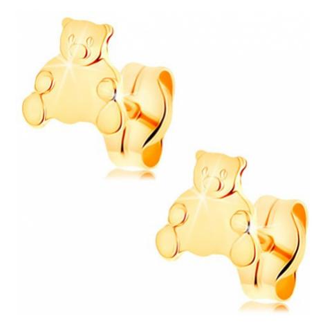 Zlaté náušnice 585 - roztomilý sedící medvídek, puzetové zapínání Šperky eshop