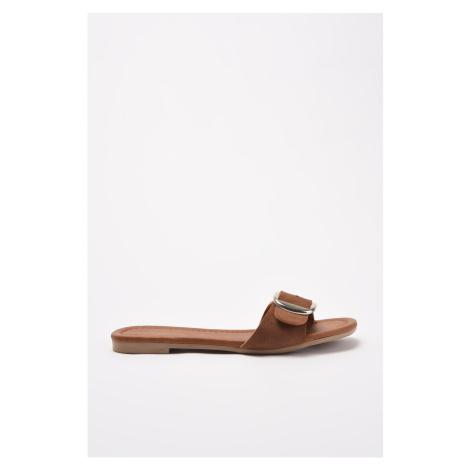 Trendyol Tan Buckled Women's Slippers