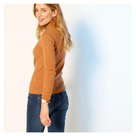 Blancheporte Žebrovaný pulovr s rolákem karamelová