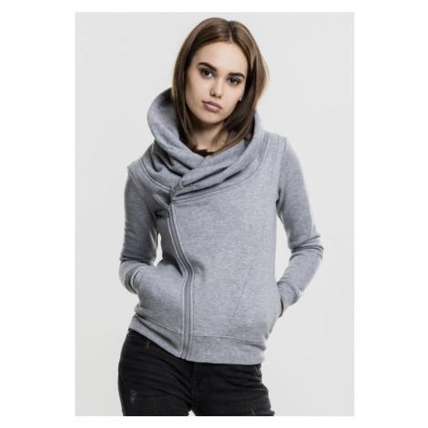 Ladies Asymetric Zip Jacket - grey Urban Classics
