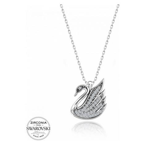 OLIVIE Stříbrný náhrdelník LABUŤ Swarovski 3707
