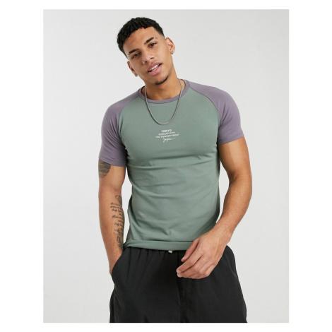 Burton Menswear muscle raglan t-shirt with Tokypo print in khaki-Green