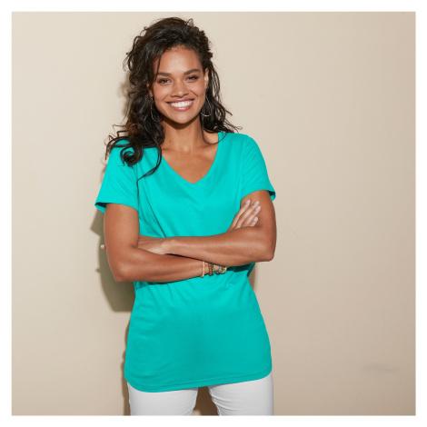 "Blancheporte Jednobarevné tričko s výstřihem do ""V"" mátová"