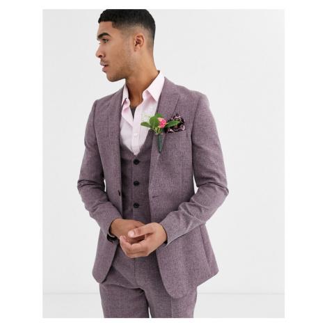 ASOS DESIGN wedding super skinny suit jacket in crosshatch in wine twist-Red